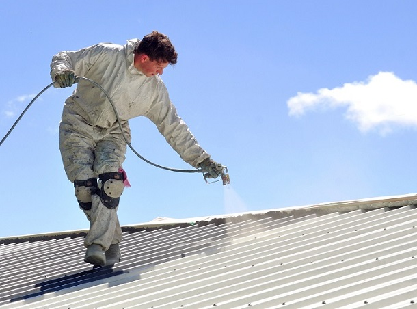 An Expert Applying a Commercial Roof Coating