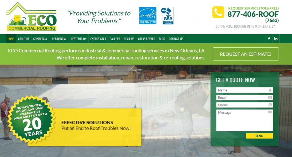 Custom Commercial Roofing Website