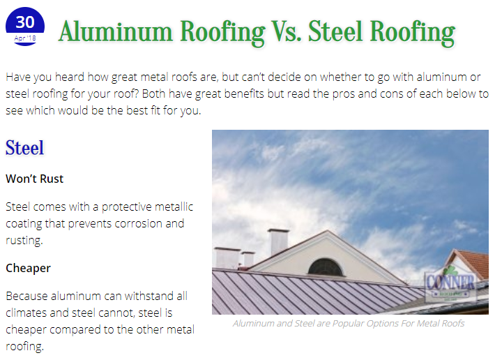A Blog Article on Metal Roofing