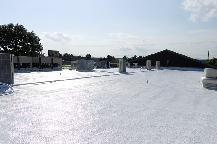Freshly Installed Foam Roof