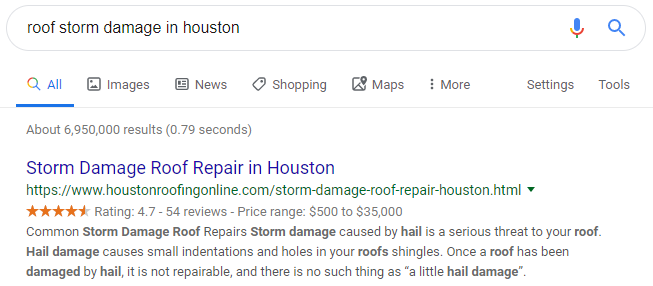 Local SEO Results for Roof Repair in Houston