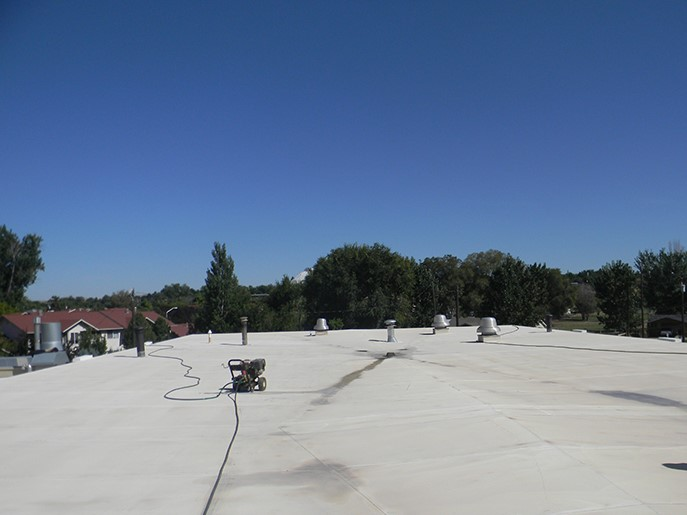 Industrial Building Roof Prepped For Coating