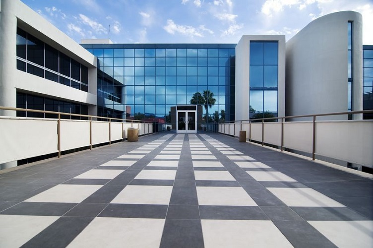 A Modern Office Building Walkway
