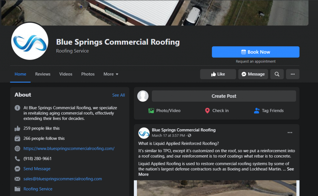 Roofing Social Media Page