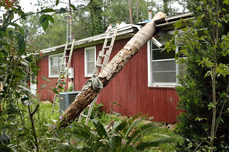 A Mobile Home With Significant Storm Damage